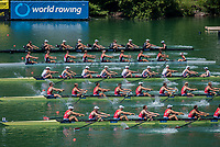 Lucerne, SWITZERLAND, 13th July 2018, Friday, Start of the Men's Eight Heat,  Start Area, FISA World Cup series, No.3, Lake Rotsee, © Peter SPURRIER/Alamy Live News