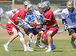 Corona Del Mar, CA 04/02/16 - Eric Fries (Corona Del Mar #43), Jack Denning (Corona Del Mar #15), Jordan Greenhall (Corona Del Mar #18) and unidentified Torrey Pines player(s) in action during the non-conference game between the Nike/LM High School Boys' National Western Region #4 Torrey Pines (#4) and #5 Corona Del Mar.  Torrey Pines defeated Corona Del Mar 9-8 in overtime.