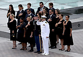 WASHINGTON, DC - SEPTEMBER 01:  Members of the McCain family watch as a military honor guard team carries the casket of the late-Sen. John McCain (R-AZ) from the U.S. Capitol September 1, 2018 in Washington, DC. The late senator died August 25 at the age of 81 after a long battle with brain cancer. Sen. McCain will be buried at his final resting place at the U.S. Naval Academy on Sunday. <br /> Credit: Win McNamee / Pool via CNP