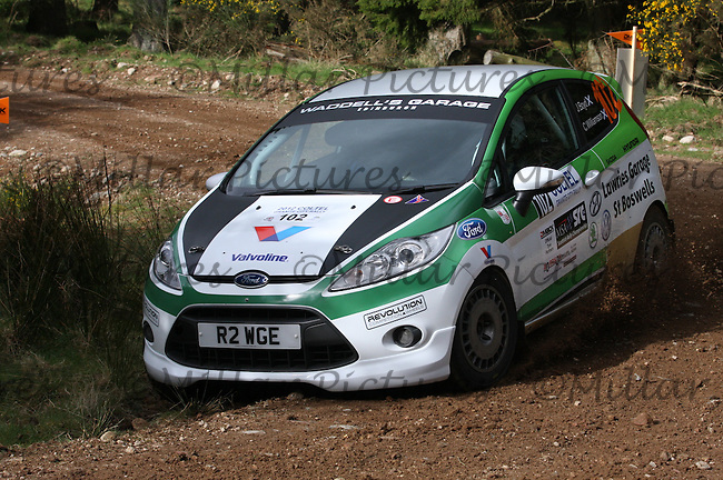 John Boyd / Chris Williamson in the Ford Fiesta R2 at Junction 2 of the Bruce McCombie Special Stage 1 Durris of the Coltel Granite City Rally 2012 which was based at the Thainstone Agricultural Centre, Inverurie.