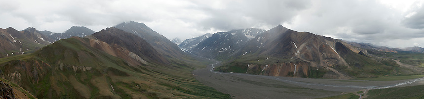 June 30, 2011, Panorama of the East Fork Toklat River and Glacier in Denali National Park, Alaska by Ron Karpilo.  This image is composed of eight individual images that were digitally stitched together by Ron Karpilo using Adobe Photoshop CS4 software.  This image is a repeat from the same location as U.S. Geological Survey geologist Stephen Reid Capps' August 22, 1919 panorama (U.S. Geological Survey, S.R. Capps Collection images #930, 931, and 932).
