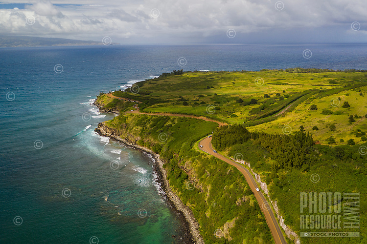 Aerial view of Honolua Bay and the coastline, Maui.