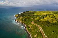 Aerial view of Honolua Bay and the coastline, Maui.