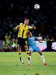 Borussia Dortmund captain Marcel Schmelzer (l) fights for the ball with Manchester City midfielder Jesus Navas (r) during the match between Manchester City FC during their 2016 International Champions Cup China match at the Shenzhen Stadium on 28 July 2016 in Shenzhen, China. Photo by Marcio Machado / Power Sport Images