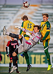 13 November 2019: University of Hartford Hawk Goalkeeper Jimmy Slayton, a Senior from Wethersfield, CT, makes a save in the first half of play against the University of Vermont Catamounts at Virtue Field in Burlington, Vermont. The Hawks defeated the Catamounts 3-2 in sudden death overtime of the Division 1 Men's Soccer America East matchup. Mandatory Credit: Ed Wolfstein Photo *** RAW (NEF) Image File Available ***