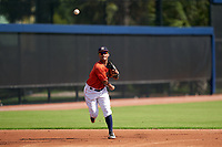GCL Astros shortstop Sean Mendoza (3) throws to first base during a Gulf Coast League game against the GCL Mets on August 10, 2019 at FITTEAM Ballpark of the Palm Beaches Training Complex in Palm Beach, Florida.  GCL Astros defeated the GCL Mets 8-6.  (Mike Janes/Four Seam Images)