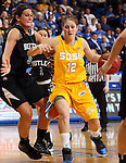 BROOKINGS, SD - MARCH 20:  Tara Heiser #12 from South Dakota State gets a step past Liz Stratman #5 from Butler in the first half of their WNIT game Thursday evening at Frost Arena in Brookings.(Photo by Dave Eggen/Inertia)