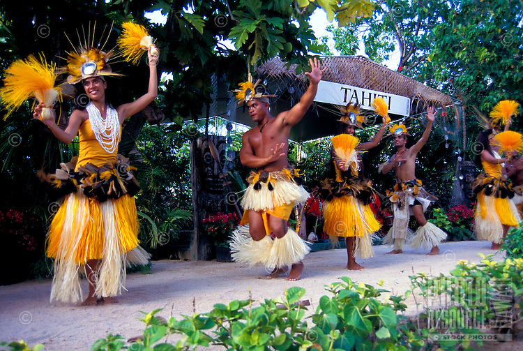 Young people in costumes perform dances of Tahiti at the Polynesian Cultural Center