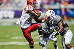 Iowa State Cyclones wide receiver Dondre Daley (13) in action during the game between Iowa State Cyclones and the TCU Horned Frogs at the Amon G. Carter Stadium in Fort Worth, Texas.