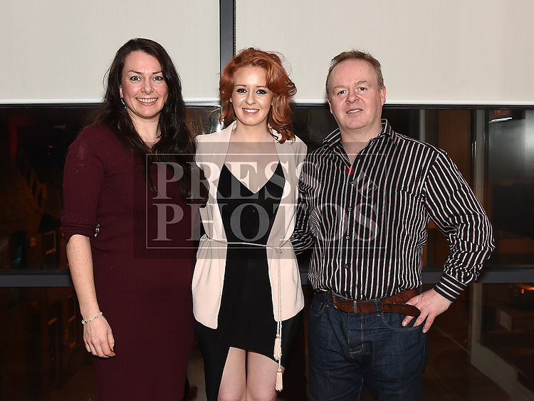 katie Campbell celebrating her 21st birthday in Brú with parents Stephen and Susannah. Photo:Colin Bell/pressphotos.ie