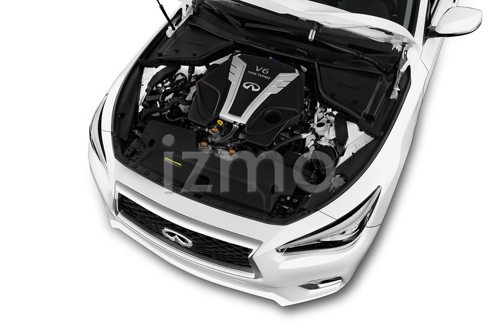 Car stock 2018 Infiniti Q50 Premium 4 Door Sedan engine high angle detail view