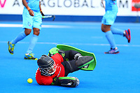 Pakistan goalkeeper Amjad Ali in action during the Hockey World League Semi-Final match between Pakistan and India at the Olympic Park, London, England on 18 June 2017. Photo by Steve McCarthy.