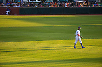 Byron Buxton (7) of the Chattanooga Lookouts looks on during a game between the Jackson Generals and Chattanooga Lookouts at AT&T Field on May 8, 2015 in Chattanooga, Tennessee. (Brace Hemmelgarn/Four Seam Images)