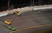 Jul. 5, 2008; Daytona Beach, FL, USA; NASCAR Sprint Cup Series driver Elliott Sadler (19) hits the wall after blowing a tire during the Coke Zero 400 at Daytona International Speedway. Mandatory Credit: Mark J. Rebilas-