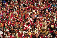 Southeast Alaska natives (Tlingit, Haida & Tsimshian) march through the streets of downtown Juneau during the biannual event, Celebration. Juneau Alaska.