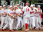 MIDDLETOWN CT. 09 June 2018-060918SV07- 16 Jack Drewry of Wolcott is met at home plate by teammates after hitting a solo home run against Seymour in the CIAC Class M baseball championship in Middletown Saturday.<br /> Steven Valenti Republican-American