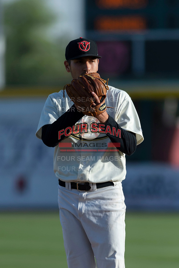 Visalia Rawhide starting pitcher Jeff Bain (20) during a California League game against the Rancho Cucamonga Quakes on April 9, 2019 in Visalia, California. Visalia defeated Rancho Cucamonga 8-5. (Zachary Lucy/Four Seam Images)