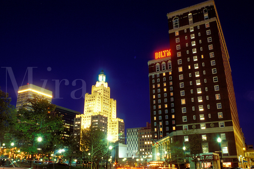 Providence, Rhode Island, RI, Downtown skyline of Providence in the evening.