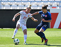 20190306 - LARNACA , CYPRUS : Hungarian Stella Kiss pictured in a duel with Slovakian Martina Surnovska during a women's soccer game between Slovakia and Hungary , on Wednesday 6 th March 2019 at the Antonis Papadopoulos stadium in Larnaca , Cyprus . This last game for both teams which decides for places 11 and 12 of the Cyprus Womens Cup 2019 , a prestigious women soccer tournament as a preparation on the Uefa Women's Euro 2021 qualification duels. PHOTO SPORTPIX.BE | DAVID CATRY