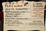 Menu, St Jean Pied de Port, France