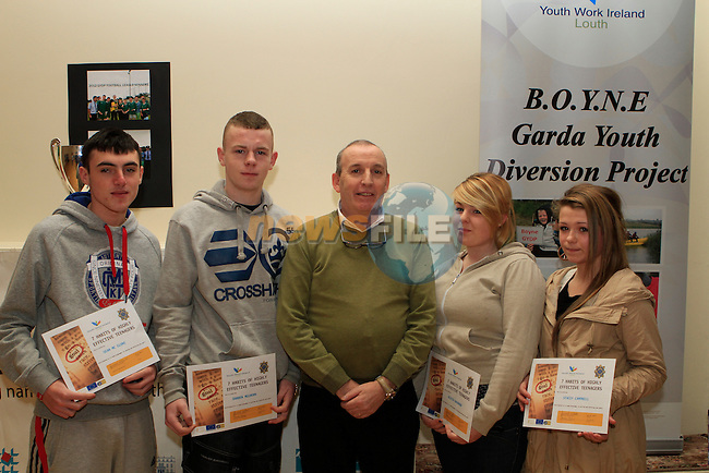 Sean McGlone, Darren Mulhern, Olivia Kavanagh and Stacey Campbell receive their awards at the Boyne Garda Youth Project Awards in the Holy Family Community Centre...Photo NEWSFILE/Jenny Matthews..(Photo credit should read Jenny Matthews/NEWSFILE)