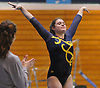 Gillian Murphy of Massapequa turns to the scoring judge after vaulting in a Nassau County varsity gymnastics meet against host Long Beach High School in Lido Beach on Thursday, Jan. 11, 2018. She scored an 8.80 in the event and won the all-around with a 35.30. Massapequa won the meet by a score of 166.30-152.20.