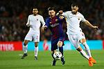 UEFA Champions League 2017/2018.<br /> Quarter-finals 1st leg.<br /> FC Barcelona vs AS Roma: 4-1.<br /> Lionel Messi vs Federico Fazio.