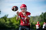 Wolcott, CT- 21 August 2017-082117CM03- Wolcott quarterback Mike Polzella runs through practice drills in Wolcott on Monday.    Christopher Massa Republican-American