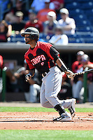 Tampa Spartans shortstop Giovanny Alfonzo (2) at bat during an exhibition game against the Philadelphia Phillies on March 1, 2015 at Bright House Field in Clearwater, Florida.  Tampa defeated Philadelphia 6-2.  (Mike Janes/Four Seam Images)