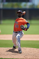 GCL Astros pitcher Fredy Medina (36) during a Gulf Coast League game against the GCL Nationals on August 9, 2019 at FITTEAM Ballpark of the Palm Beaches training complex in Palm Beach, Florida.  GCL Nationals defeated the GCL Astros 8-2.  (Mike Janes/Four Seam Images)