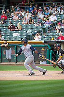 Robinson Diaz (7) of the Colorado Springs Sky Sox at bat against the Salt Lake Bees in Pacific Coast League action at Smith's Ballpark on May 24, 2015 in Salt Lake City, Utah.  (Stephen Smith/Four Seam Images)