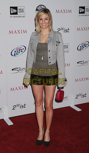 ALISON HAISLIP.The MAXIM HOT 100 Party held at Eden in Hollywood, California, USA..May 11th, 2011.full length black leather short grey gray top denim jean jacket red bag purse black shoes.CAP/ROT/TM.©Tony Michaels/Roth Stock/Capital Pictures
