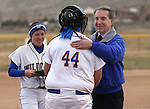 Wildcats Katilyn Covione and Lauren Lesniak thank Mayor Bob Crowell after he threw out the first pitch for the Western Nevada College Wildcats before a game against College of Southern Idaho in Carson City, Nev., on Friday, Feb. 27, 2015. <br /> Photo by Cathleen Allison/Nevada Photo Source