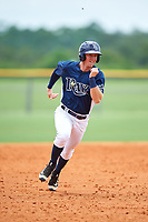 GCL Rays right fielder Jake Stone (8) runs the bases during the first game of a doubleheader against the GCL Twins on July 18, 2017 at Charlotte Sports Park in Port Charlotte, Florida.  GCL Twins defeated the GCL Rays 11-5 in a continuation of a game that was suspended on July 17th at CenturyLink Sports Complex in Fort Myers, Florida due to inclement weather.  (Mike Janes/Four Seam Images)