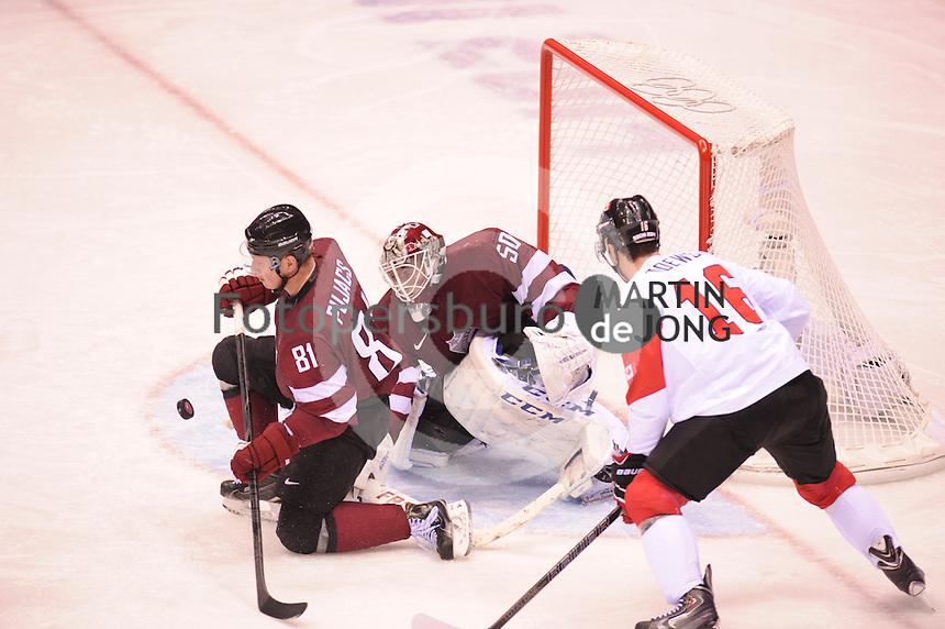 OLYMPICS: SOCHI: Bolshoy Ice Dome, 19-02-2014, Ice Hockey, Men's Play-offs Quarterfinals, Canada-Latvia, final result 2-1, ©photo Martin de Jong