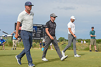 Keith Mitchell (USA), Ryan Blaum (USA), and Kevin Tway (USA) head down 8 during round 4 of the AT&T Byron Nelson, Trinity Forest Golf Club, at Dallas, Texas, USA. 5/20/2018.<br /> Picture: Golffile | Ken Murray<br /> <br /> All photo usage must carry mandatory copyright credit (© Golffile | Ken Murray)