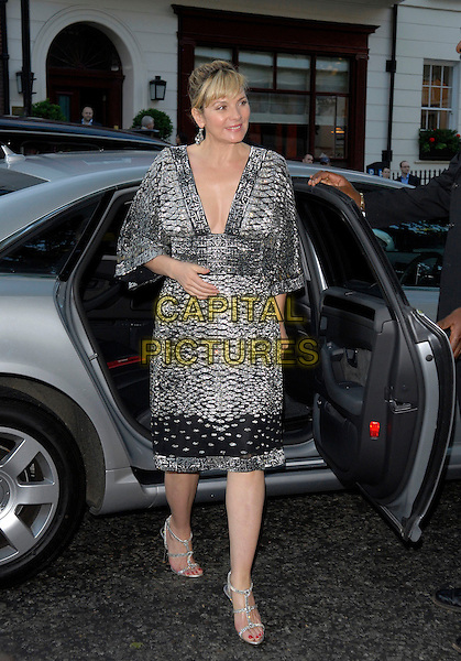 KIM CATTRALL.Arrivals at the 4th Annual Glamour Women Of The Year Awards, Berkely Square Gardens, London, England. .June 5th 2007.full length black silver dress shoes plunging neckline car .CAP/FIN.©Steve Finn/Capital Pictures