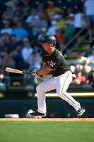 Pittsburgh Pirates left fielder Jake Goebbert (23) at bat during a Spring Training game against the Boston Red Sox on March 9, 2016 at McKechnie Field in Bradenton, Florida.  Boston defeated Pittsburgh 6-2.  (Mike Janes/Four Seam Images)