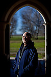 "The New Clairvaux Abbot Paul Mark Schwan poses for a portrait in their ""chapter house"" built from 800-year-old stones in Vina, Calif. on December 18, 2012"