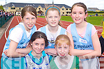 Zoe Newsome-McDonnell St Brendan's, Michaela Regan Tralee Harriers, Rachel O'Mahony St Brendan's, Amy Reidy Riocht and Orla O'Shea St Brendan's keeping fit at the Juvenile Athletic Championships in Castleisland on Sunday   .     Copyright Kerry's Eye 2008