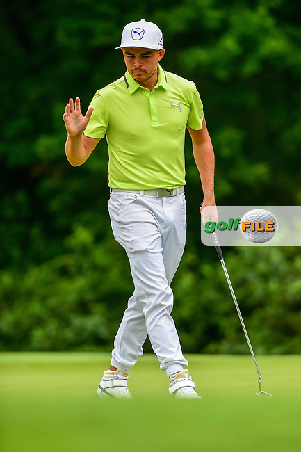 Rickie Fowler (USA) after sinking a birdie putt on 16 during round 2 of the 2016 Quicken Loans National, Congressional Country Club, Bethesda, Maryland, USA. 6/24/2016.<br /> Picture: Golffile | Ken Murray<br /> <br /> <br /> All photo usage must carry mandatory copyright credit (&copy; Golffile | Ken Murray)