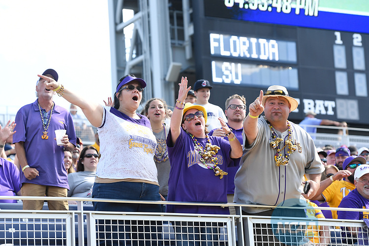 OMAHA, NE - JUNE 26: Tigers fans cheer on their team before Louisiana State University takes on the University of Florida during the Division I Men's Baseball Championship held at TD Ameritrade Park on June 26, 2017 in Omaha, Nebraska. The University of Florida defeated Louisiana State University 4-3 in game one of the best of three series. (Photo by Jamie Schwaberow/NCAA Photos via Getty Images)