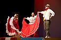 "Minamisanriku, Miyagi, Japan - Colombians with traditional dress dance for Japanese refugees at Sports Koryu Mura in Minamisanriku, one year after the tsunami. The Latin group of volunteers ""Todos con Japon"" visits Miyagi area during this Golden Week."