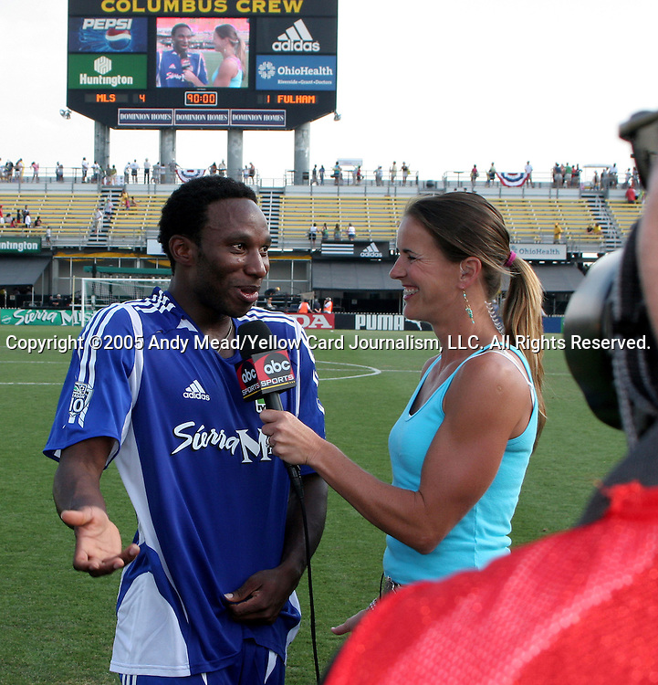 30 July 2005: Former Crew player Jeff Cunningham (l) is interviewed by ABC Sports reporter Brandi Chastain (r) after the game. Major League Soccer's All-Stars defeated Fulham FC of the English Premier League 4-1 at Columbus Crew Stadium in Columbus, Ohio in the 2005 Sierra Mist MLS All-Star Game.
