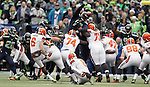 Cleveland Browns Travis Coone (6) kicks a 34-yard field goal against the Seattle Seahawks at CenturyLink Field in Seattle, Washington on December 20, 2015. The Seahawks clinched their fourth straight playoff berth in four seasons by beating the Browns 30-13.  ©2015. Jim Bryant Photo. All Rights Reserved.