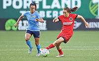 Portland, Oregon - Saturday July 2, 2016: Portland Thorns FC midfielder Meleana Shim (6) controls the ball during a regular season National Women's Soccer League (NWSL) match at Providence Park.