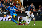 17th March 2019, Mestalla Stadium, Valencia, Spain; La Liga football, Valencia versus Getafe; Dakonam Djene of Getafe takes on Santi Mina of Valencia CF