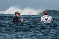 NAMOTU, Fiji (Wednesday, June 14, 2017) Leo Fioravanti (ITA) with coach Stephen Bell (AUS) waiting for the start of the heat. - The Outerknown Fiji Pro, Stop No. 5 on the 2017 World Surf League (WSL) Championship Tour (CT), was called ON for an 8:15 a.m. start in three-to-five foot (1 - 1.5 metre) conditions at Cloudbreak this morning. Men's Round 4 was completed before Round 5 was put on standby for a possible start at 2 pm. <br /> <br /> &quot;We are seeing clean conditions out there at Cloudbreak,&quot; said WSL Deputy Commissioner, Renato Hickel. &quot;Round 4 is on and we will start at 8:15 a.m. local time. We will put Round 5 on hold for a possible start. We will check back in after the Round 4 to see if we will continue running heats.&quot;<br /> <br /> Location:      Tavarua/Namotu, Fiji<br /> Event window:   June 4 - 16, 2017<br /> Today's call:<br />  Round 4 called ON for 8:15 AM Start <br /> Conditions:         3 - 5 foot (1 - 1.5 metre)<br /> <br /> Photo: joliphotos.com