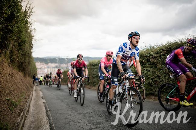 grupetto with Polka Dot Jersey / KOM leader Ángel Madrazo (ESP/Burgos-BH) up the brutal (last climb) Alto de Arraiz (up to 25% gradients!) above Bilbao, 7km from the finish <br /> <br /> Stage 12: Circuito de Navarra to Bilbao (171km)<br /> La Vuelta 2019<br /> <br /> ©kramon