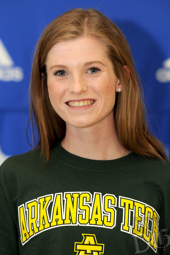 NWA Democrat-Gazette/ANDY SHUPE<br /> Aubre Gilreath signed Wednesday, April 12, 2017,to run track and cross country at Arkansas Tech during a signing ceremony at Rogers High School. Visit nwadg.com/photos to see more photographs from the ceremony.